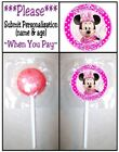 24 Minnie Mouse Clubhouse Birthday Party Baby Shower Lollipop Stickers Pink