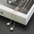 Ladies Fashion Charm Crystal Pearls Pendant Necklace Luxury Long Necklace Sweate