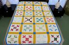 Quilted All Cotton TURKEY TRACKS Quilt, Nice Prints!