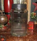 Primitive Antique Vtg Style Canister HOOSIER Ribbed Glass TEA Jar w/ Black Lid