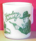Green Hopalong Cassidy Mug Hazel Atlas Milk Glass Child's Cowboy Cup MINT