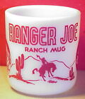 RED Ranger Joe Ranch Mug Hazel Atlas Child's Cowboy Cup Milk Glass Vintage