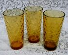 3 VINTAGE ANCHOR HOCKING AMBER FISH SCALE GLASSES TUMBLERS BAR TEA 16 OUNCE