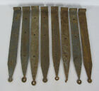8 Antique Blacksmith Wrought Iron 19th C Barn Door Lollipop End Strap Hinges yqz