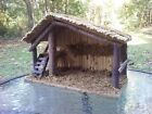 Christmas Nativity Stable Creche Huge 14 X 10 Vintage Mid Century Bark On Wood