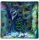 Proud Peacock Platter Art Glass 125 Inch Square Kitchen Dining Serving Plate