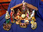 1950s chalkware handpainted Nativity Creche 13 figures + musical Stable