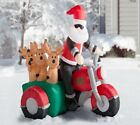 Christmas Inflatable Santa Claus Driving Motorcycle with 3 Reindeer Decoration