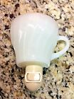VINTAGE ANCHOR HOCKING FIRE KING WHITE SWIRL GOLD TRIM NIGHT LIGHT