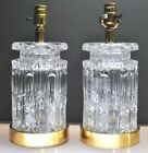 VINTAGE PAIR OF HEAVY CUT CRYSTAL TABLE LAMPS WITH GROOVES, STARS, FROSTED