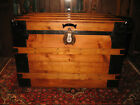 A+ ANTIQUE FLAT SLAT TOP STEAMER TRUNK STAGE COACH CHEST COFFEE TABLE RESTORED
