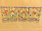 Set of 5 Georges Briard Multi Color Garden Flower Highball Glasses