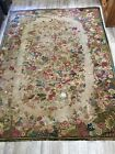 Antique Hand Hooked Wool Rug Pacific Northwest Estate Late 1800s Century