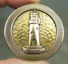 BRASS PICTURE BUTTON ~ LIGHTHOUSE ~ FAITH STROBEL