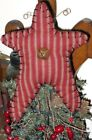 Dark Red/Tan ticking stripe DUNROVEN Homespun TREE TOPPER for smaller TREES