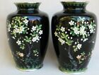 Vintage Japanese Ando Black Cloisonne Vase Pair with Cherry Blossoms