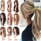 Women Full Wigs Highlight Blonde Brown Long Wavy Straight Hair Party Cosplay Wig