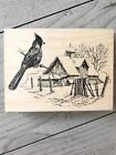 IMPRESSION OBSESSION WOOD RUBBER STAMP WINTER CARDINAL BARN NATURE SCENE