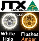 7 JTX LED Headlight White Halo flashes AMBER Jeep Wrangler CJ JK TJ CJ5 CJ8 CJ7