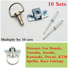 10 Sets Type B Motorcycle 1/4 Turn Quick Release Race Fairing Fasteners 17mm