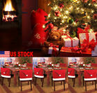 US Christmas Decoration Santa Red Hat Chair Cover Dinner Chair Xmas Cap Set 6pcs