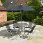 Ex Display 6pc Garden Patio Furniture Set 4 Seater Parasol Table And Chairs