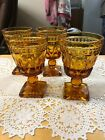 Vintage Amber Indiana Glass Square Foot Gonlet Set Of 4 Thumb Print