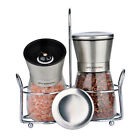 Salt and Pepper Grinder Set of 2 Stainless Steel Glass Mill Grind Spice Shakers