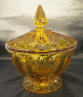 Anchor Hocking Fairfield Footed Amber Candy Dish with lid