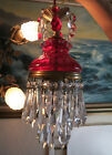 Vintage ruby Lady Cupcake glass crystal prism Brass SWAG lamp chandelier pendant