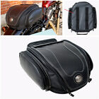 PU Leather Motorcycle Rear Seat Tail Bag Exqusite Lines Outside Toolbox Design