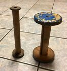 Vintage Industrial Textile Wooden Thread Wool Spools Bobbins Blue Yellow Painted