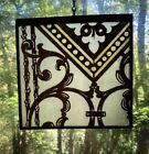1870s Architectural Salvage Leaded Stained Glass- Black Painted Design