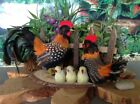 Realistic Spotted Chickens Rooster Hen Chicks Real Feathers Figurine 45H x 8L