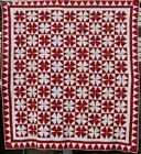 Antique Red and White Geometric Quilt, Winding Ways with Great Border, #18429