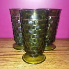 SET OF 3 INDIANA WHITEHALL GREEN GLASS  TUMBLER DRINKING PEDESTAL FOOTED 12 oz