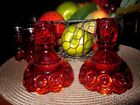 L E SMITH RED AMBERINA GLASS CANDLE HOLDER~Moon and Stars~4 1/2 in.