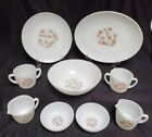 9 Pieces Vintage Fire King Oven Ware Fleurette Pink Flowers Dinner Ware