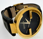 GUCCI LADIES GOLD PLATED INTERLOCKING GG YELLOW GOLD BLACK DIAL