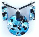 BLACK BLUE SILVER AUTHENTIC MURANO GLASS NECKLACE EARRINGS JEWELRY SET 12MG