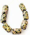 7 Rare Fine old Venetian Antique Wound Ghost Glass Trade beads