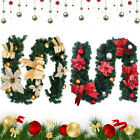 6ft Red Gold Christmas Artificial Green Garland Rattan Xmas Fireplace Decoration