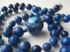 Fine Old Chinese Sterling Silver Enamel Blue Lapis Lazuli Beaded Necklace