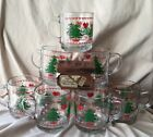 Lot Of 7 Vintage 1984 Glass Anchor Hocking Christmas Mugs W/handles Trees Hearts