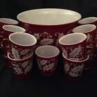 Vintage Hazel Atlas Eggnog Punch Bowl With 13 Cups Red Holly Berry