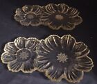 Hazel Atlas Capri Daisy Double Flower Clear Snack Luncheon Plates Set of 2