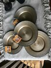 TURKISH DELIGHTS HOLIDAY GOLD SILVER SPARKLE GLASS SALAD PLATES SET OF 4 NEW