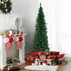 6Ft PVC Artificial Slim Pencil Christmas Tree w Stand Home Holiday Decor Green