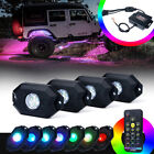 Xprite 4 Pods RGB LED Rock Lights Underglow Remote Control for Jeep Trucks UTV