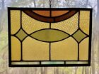 Architectural Salvage Leaded Church Stained Glass Amber Green Brown Orange